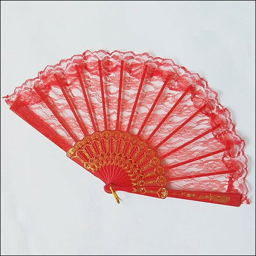 Image of Red lace rock and roll hand fan