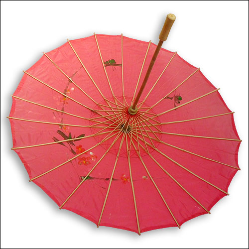 Red silk rock and roll parasol sunberella sunshade