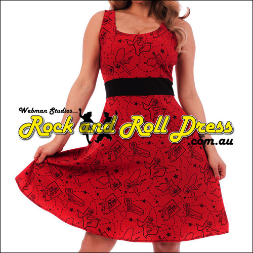 Red pinup rockabilly dress S-XL
