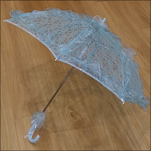 Image of Blue ruffle lace parasol