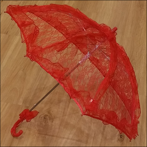 Image of Red ruffle lace parasol