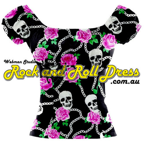 Skulls and Roses peasant top S - 2XL