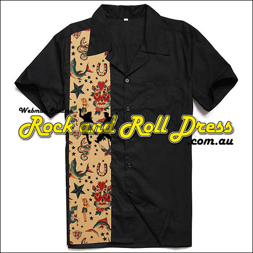 Image of Black retro icon rock and roll shirt
