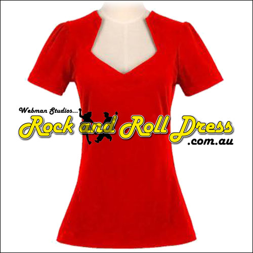 Red rock and roll cotton top