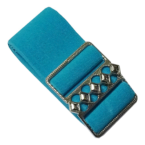 Teal elastic cinch belt 50mm wide fits up to 130cm waist