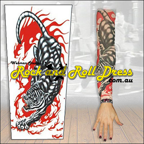 Image of Tiger fury rock and roll tattoo sleeve