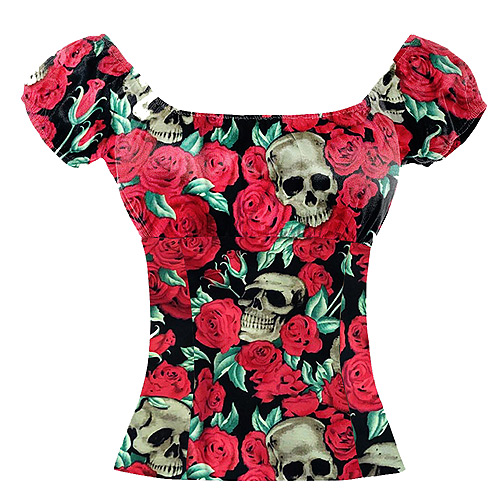 Skull and red rose rockabilly top S-2XL