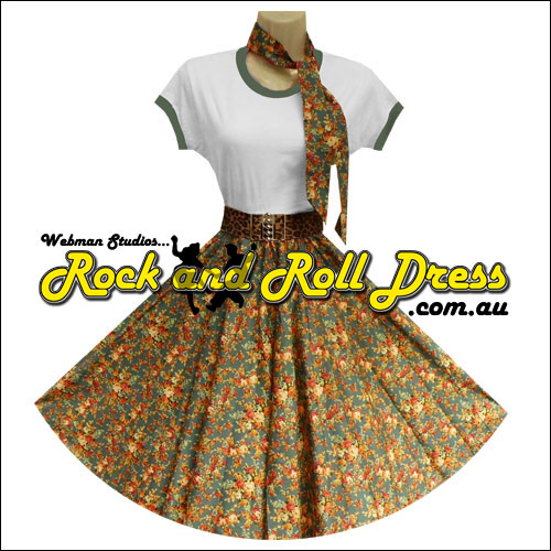 Vintage floral full circle rock n swing skirt