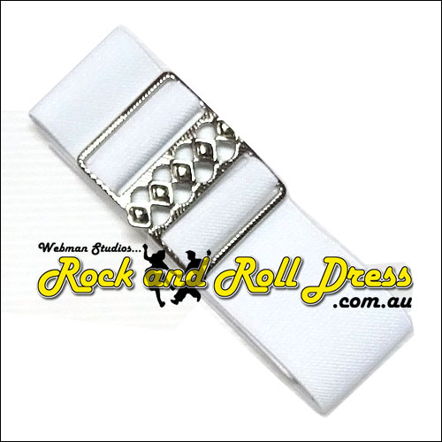 White elastic cinch belt 50mm wide fits up to 130cm waist