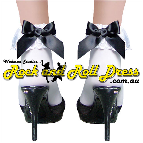 White lace top rock and roll bobby socks with black satin bow