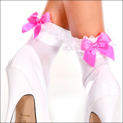 White lace top bobby socks with hot pink satin bow