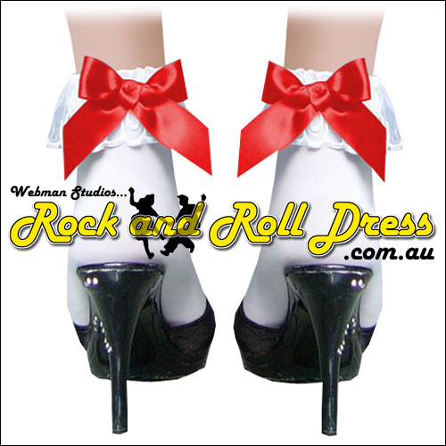 White lace top rock and roll bobby socks with red satin bow
