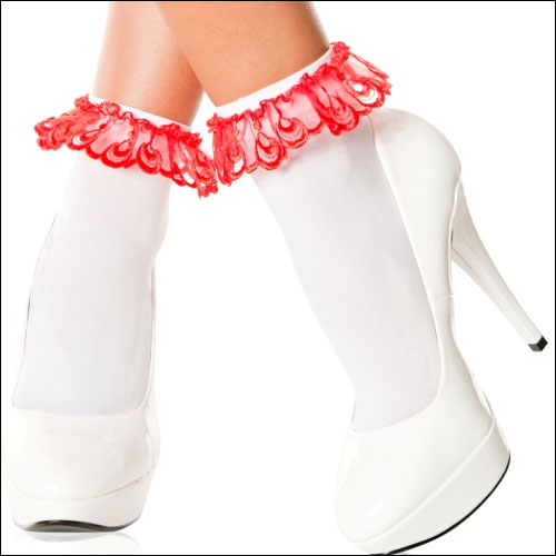 White red lace top rock and roll bobby socks