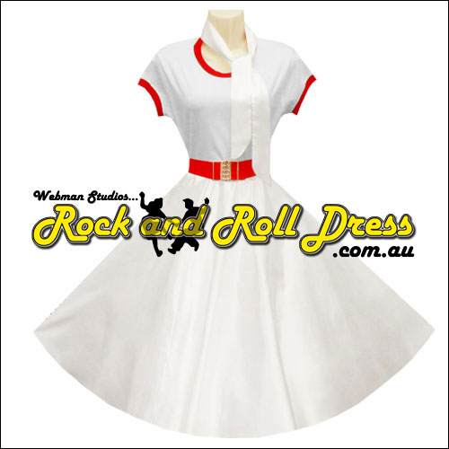 Image of White satin full circle rock and swing skirt