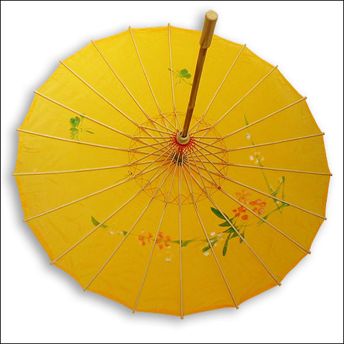 Yellow silk parasol sunberella sunshade